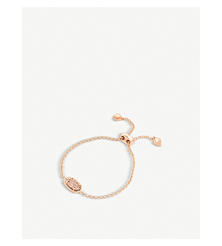 KENDRA SCOTT Elaina 14ct rose-gold plated and rose-gold drusy chain bracelet (Iridescent
