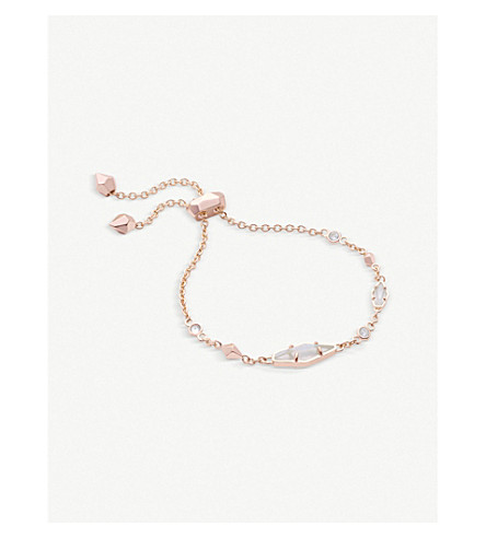 KENDRA SCOTT Deb 14ct rose gold-plated and cubic zirconia chain bracelet (Rose+gold+w/+white