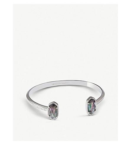 KENDRA SCOTT Elton rhodium-plated and black mother-of-pearl cuff bracelet (Rhodium