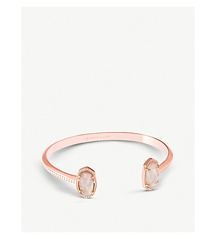 KENDRA SCOTT Elton 14ct rose gold-plated and brown mother-of-pearl cuff bracelet (Rose+gold