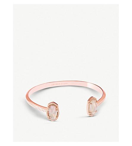 斯科特埃尔顿14ct 玫瑰镀金和棕色珍珠母袖口手镯 (玫瑰 + 黄金