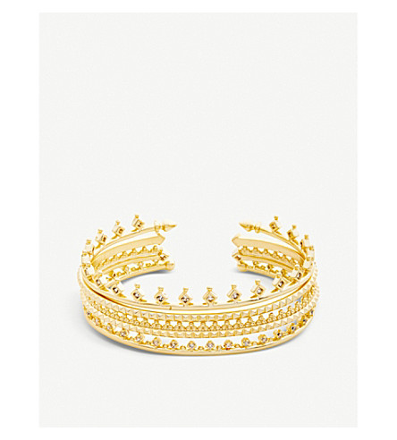 KENDRA SCOTT Delphine 14ct gold-plated and cubic zirconia bracelet (White
