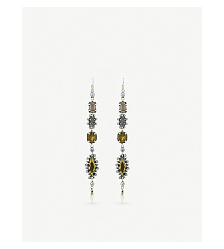 KENDRA SCOTT Leandra antique silver-plated, glass, pyrite and platinum drusy earrings (Brown