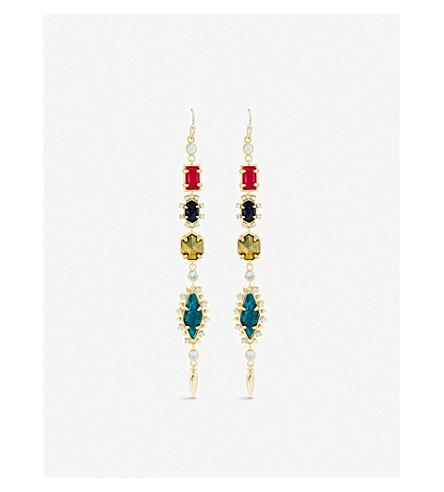 KENDRA SCOTT Leandra plated brass, glass and gemstone earrings (Multi+gem