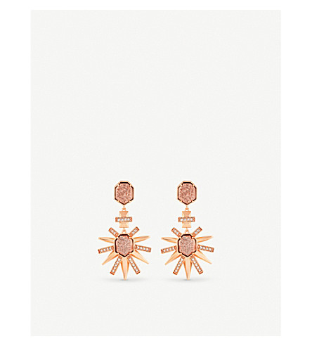 KENDRA SCOTT Allie 14ct rose gold-plated, cubiz zirconia and drusy earrings (Rose+gold+drusy