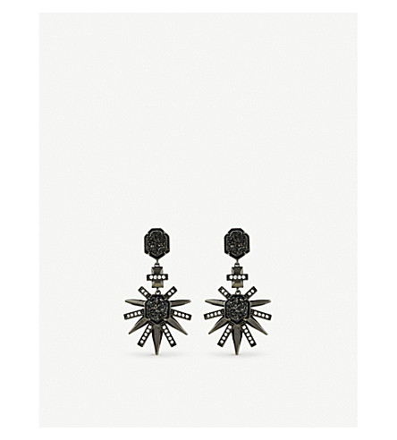 KENDRA SCOTT Allie gunmetal-plated, cubic zirconia, black drusy earrings (Black+drusy