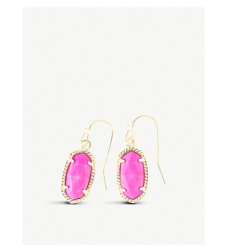 KENDRA SCOTT Lee 14ct gold and magenta magnesite earrings (Magenta