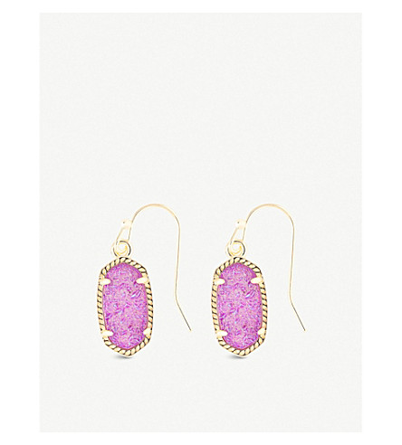 KENDRA SCOTT Lee 14ct gold-plated and violet drusy stone earrings (Violet