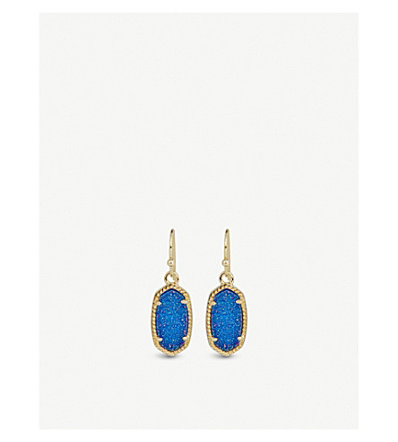 KENDRA SCOTT Lee 14ct gold-plated cobalt drusy drop earrings (Cobalt