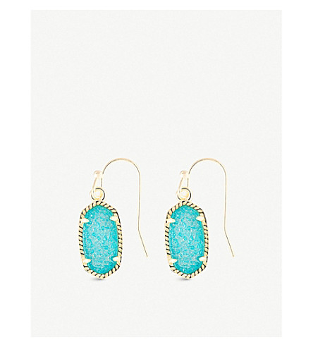 KENDRA SCOTT Lee 14ct gold-plated and teal drusy stone earrings (Teal