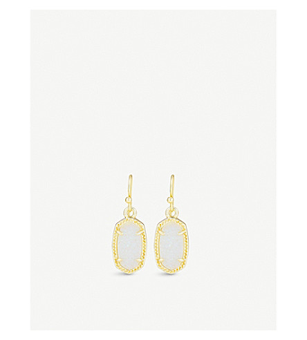 KENDRA SCOTT Lee 14ct gold-plated and mother-of-pearl earrings (Iridescent