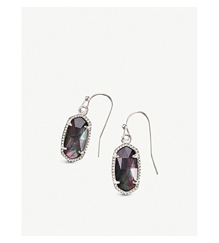 KENDRA SCOTT Lee rhodium-plated and black mother-of-pearl earrings (Rhodium