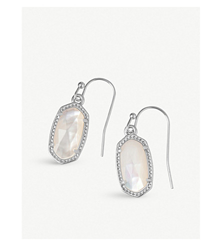 KENDRA SCOTT Lee rhodium-plated ivory pearl drop earrings (Ivory