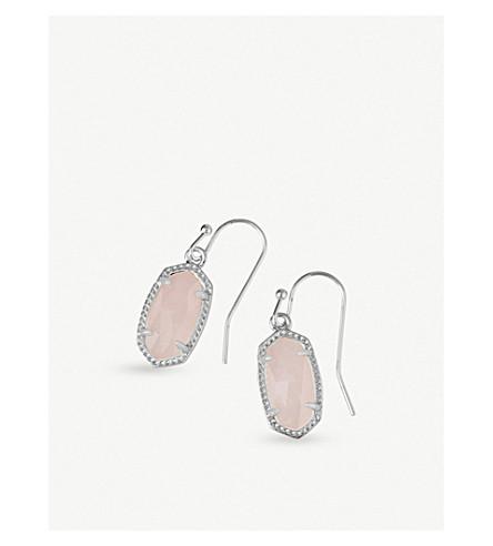 KENDRA SCOTT Lee rhodium-plated rose quartz drop earrings (Rose