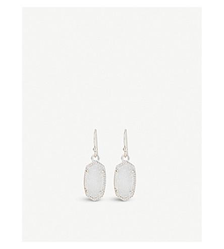 KENDRA SCOTT Lee rhodium and iridescent drusy stone earrings (Iridescent
