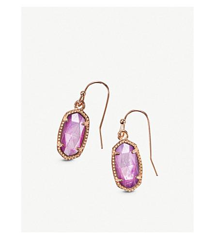 KENDRA SCOTTLEE 14ct 玫瑰镀金和丁香珍珠母耳环 (玫瑰 + 黄金