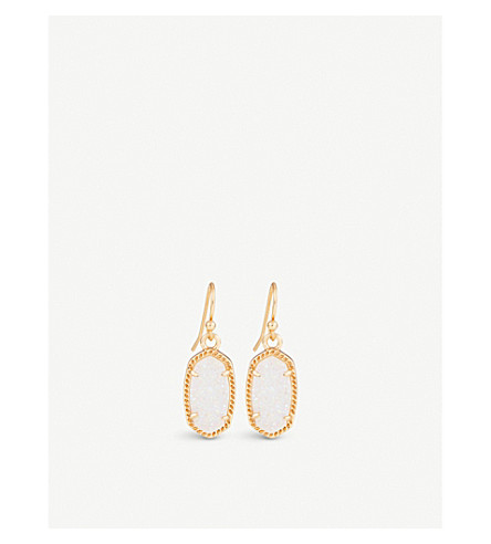 KENDRA SCOTT Lee 14ct gold-plated and gemstone earrings (Iridescent
