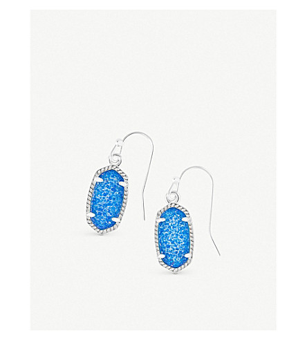 KENDRA SCOTT Lee 14ct rhodium-plated and cobalt drusy stone earrings (Cobalt