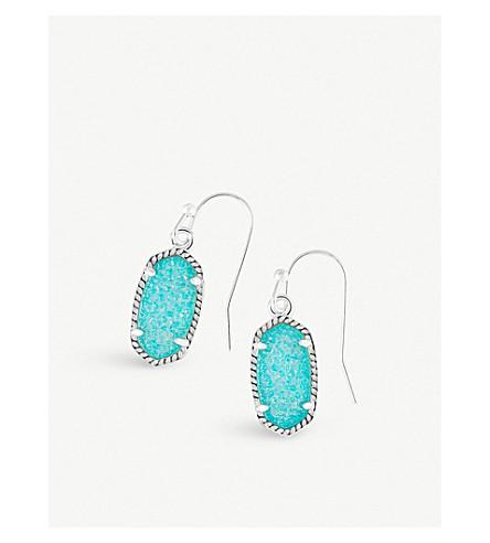 KENDRA SCOTT Lee rhodium-plated teal drusy stone earrings (Teal