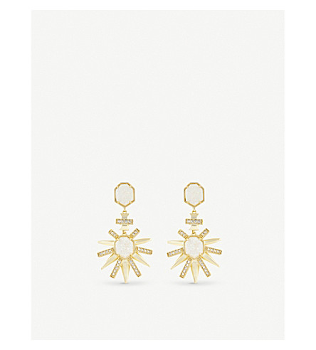 KENDRA SCOTT Allie gold-plated and iridescent drusy earring (Iridescent+drusy