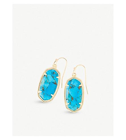 KENDRA SCOTT Dani 14ct gold-plated Bronze Veined Turquoise drop earrings (Bronze+veined+turquo