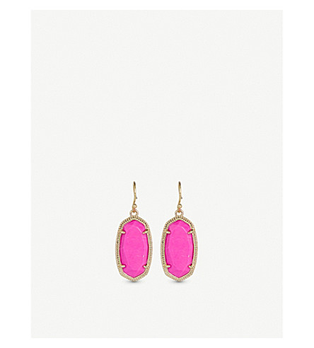 KENDRA SCOTT Dani 14ct gold-plated magenta drop earrings (Magenta