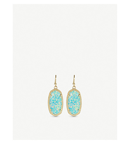 KENDRA SCOTT Dani 14ct gold-plated Aqua Kyocera Opal drop earrings (Aqua
