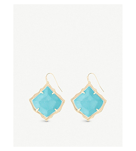 KENDRA SCOTT Kirsten 14ct gold-plated and turquoise magnesite stone drop earrings (Turquoise