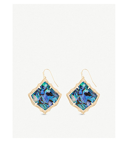 KENDRA SCOTT Kirsten 14ct gold-plated and abalone shell drop earrings (Abalone