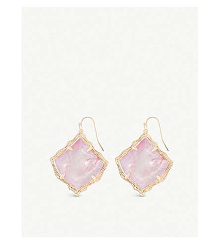 KENDRA SCOTT Kirsten 14ct gold-plated and ivory mother-of-pearl drop earrings (Blush+dyed+ivory+mop