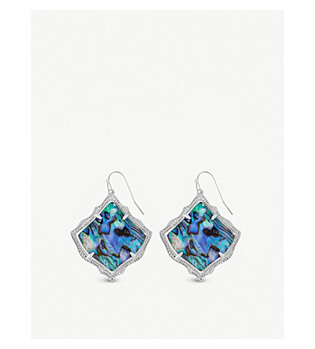 KENDRA SCOTT Kirsten 14ct rhodium-plated and abalone shell drop earrings (Abalone