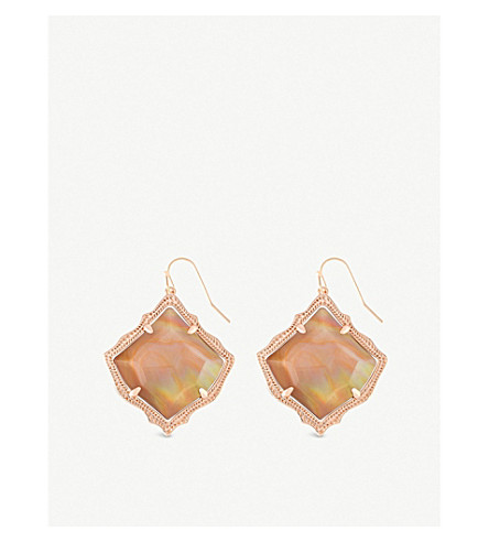 KENDRA SCOTT Kirsten 14ct gold-plated and brown mother-of-pearl drop earrings (Brown