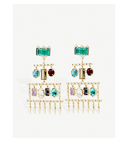 KENDRA SCOTT Emmylou plated brass, crystal and gemstone chandelier earrings (Multi
