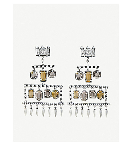 KENDRA SCOTT Emmylou antique silver-plated, glass and platinum drusy chandelier earrings (Smoky