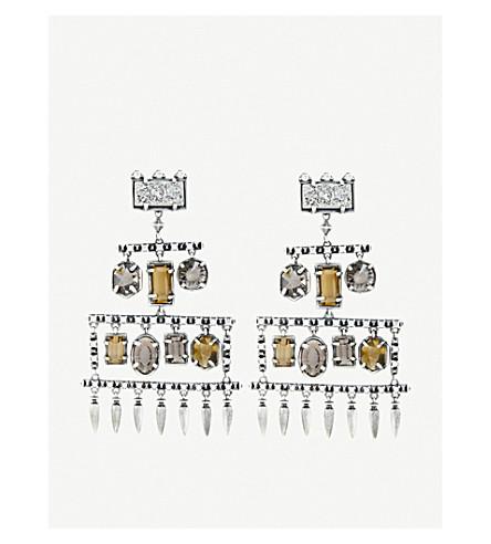 KENDRA SCOTTEmmylou 古董镀银, 玻璃和铂 drusy 吊灯耳环 (烟熏
