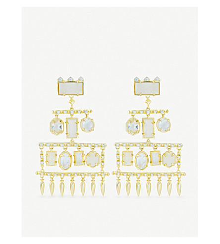 KENDRA SCOTT Emmylou 14ct gold-plated, crystal and gemstone chandelier earrings (Clear
