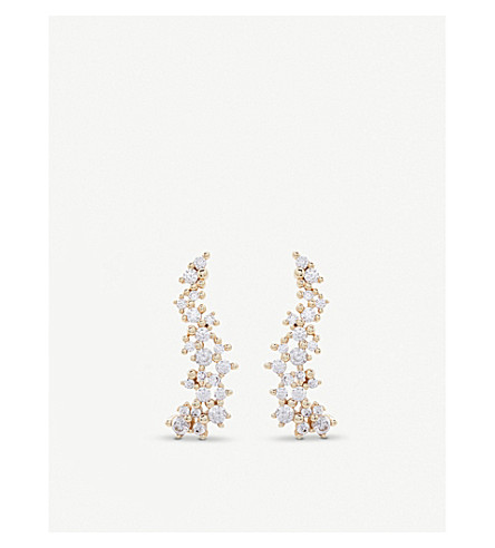 KENDRA SCOTT Petunia 14ct gold-plated and cubic zirconia climber earrings (White