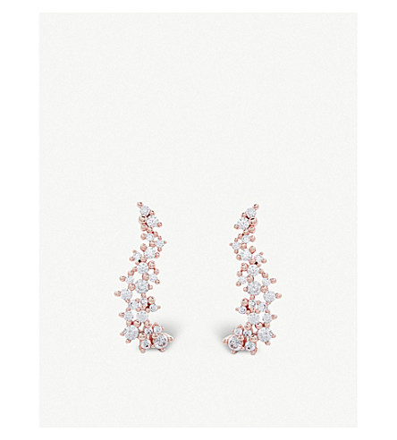 KENDRA SCOTT Petunia 14ct rose gold-plated and cubic zirconia climber earrings (White
