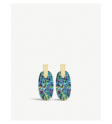 KENDRA SCOTT Aragon 14ct gold-plated and abalone shell earrings (Abalone