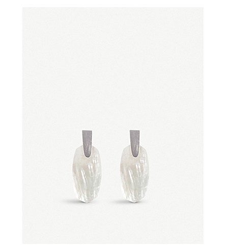 KENDRA SCOTT Aragon silver-plated Mother of Pearl stud earrings (Ivory