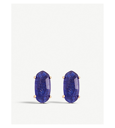 KENDRA SCOTT Betty 14ct rose gold-plated and dusted glass earrings (Navy