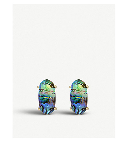 KENDRA SCOTT Betty 14ct gold-plated and abalone shell earrings (Abalone