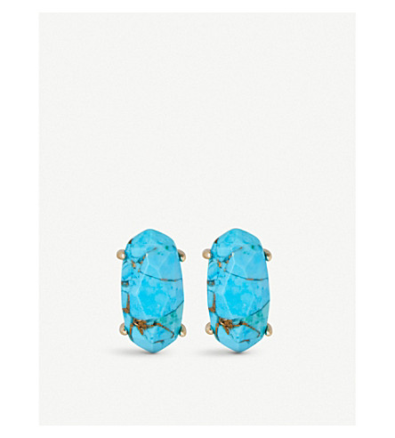 KENDRA SCOTT Betty 14ct gold-plated Bronze Veined Turquoise stud earrings (Bronze+veined+turquo
