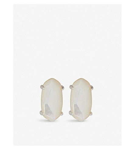 KENDRA SCOTT Betty silver-plated Mother of Pearl stud earrings (Ivory
