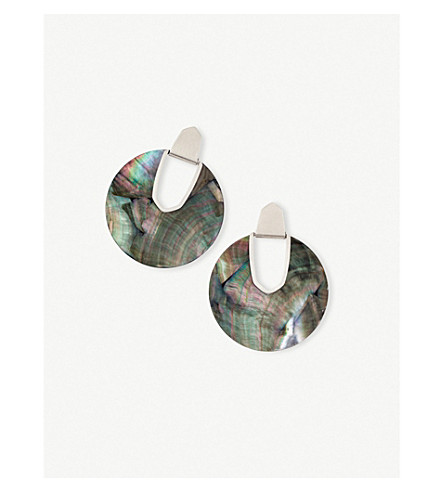 KENDRA SCOTT Diane rhodium-plated and black mother-of-pearl disc earrings (Rhodium