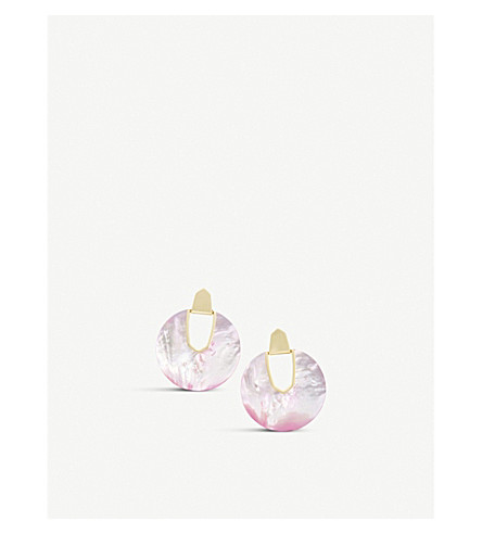 KENDRA SCOTT Diane 14ct gold-plated and blush mother-of-pearl earrings (Blush+dyed+ivory