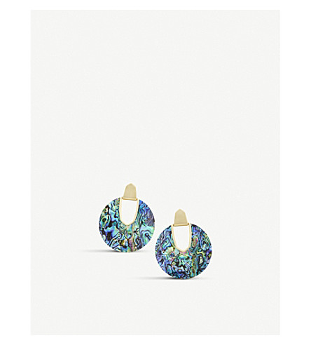 KENDRA SCOTT Diane 14ct gold-plated and abalone shell earrings (Abalone