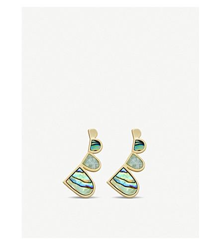 KENDRA SCOTT Fannie 14ct gold-plated, abalone shell, amazonite earrings (Abalone/amazonite+mi