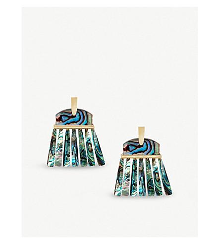 KENDRA SCOTT Layne 14ct gold-plated abalone shell earrings (Abalone