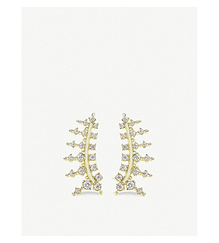 KENDRA SCOTT Laurie 14ct gold-plated and cubic zirconia climber earrings (White